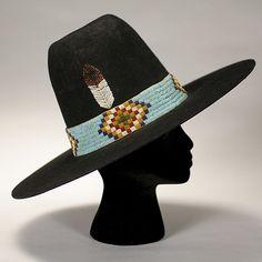 Native American Hat. Beadwork. Feather