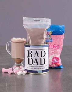 Personalised Rad Dad Hot Chocolate Tin Pink Happy Birthday, Happy Birthday Candles, Happy Birthday Balloons, Fathers Day Gifts, Gifts For Dad, Unicorn Balloon, Moet Chandon, Tea Gifts, Helium Balloons