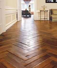 Herringbone wood floor. Yes, please.