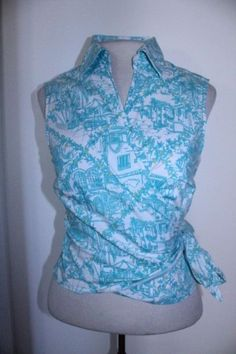 Lilly Pulitzer Top 10 Teal Green Scenery Print Collar Casual Career Wrap Blouse #LillyPulitzer #Wraptop