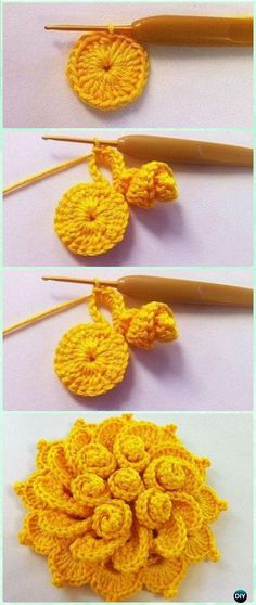 Crochet May's Flower Free Pattern [Video] - Crochet 3D Flower Motif Free Patterns