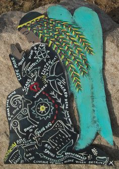 Indian Angel  Storyteller Totem  Original Painting by CathyDeLeRee, $65.00
