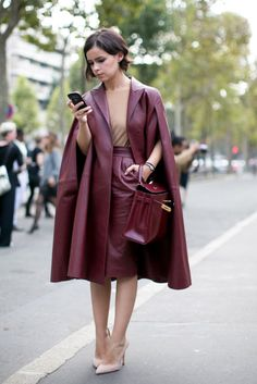 Miroslava Duma in a burgundy leather cap and matching pencil skirt and bag @ Paris #fashionweek Spring 2014 collections