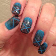 My accomplishment today. :) Taped glitter fade nail art! Nail Polish: Zoya - Robyn, Butter London - The Black Knight, Seche Vite - Dry Fast Top Coat
