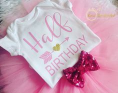 Half Birthday Shirt 6 Month Photo Outfit Girl by HairBowBoulevard 2nd Birthday Pictures, Half Birthday, 2nd Birthday Parties, Girl Birthday, Birthday Ideas, Monthly Pictures, Heat Press, Future Baby, Birthday Shirts