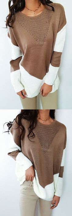 $35.99! Chicnico Boho Spliced O-Neck Long Sleeve Sweater all fashion trend shop online store travel causal outifit