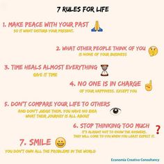 We strongly believe that these 7️⃣ rules are essencial in life, so #enjoyyourlife 👈 and have an amazing #weekend! 👌#enjoylife #behappy #peace #create #leadership #creativeconsultancy #creativepeople #smile 😀 #yolo #takerisks #Friday #infographic by @justy_mr