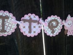 It's A Girl Owl Banner in pink and brown OR pick by SweetBugABoo
