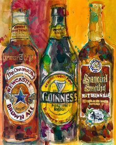 NewCastle Guinness Samuel Smith Beer Art Print by dfrdesign