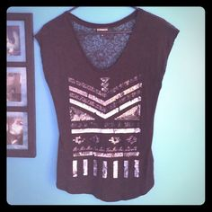 Sequin and lace back express tee Size xs. Like new. No holes or stains Express Tops Tank Tops