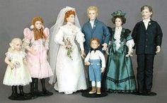 Doreen Sinnett Dollhouse Dolls The Taylor Family L-R: Pearl, Meg, Beth, John, Harriett, David, And Little Bobby in front 1in to 1 foot scale