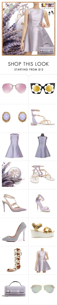 """""""Summer Dress + Sandals + Sunglasses"""" by yours-styling-best-friend ❤ liked on Polyvore featuring Miu Miu, Markus Lupfer, René Caovilla, RED Valentino, Valentino, Posh Girl, Carrano, Tiffany & Co., Majorica and summersandals"""