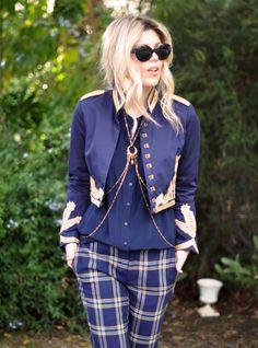plaid trousers + military jacket