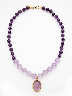 AMETHYST BEAD & PENDANT NECKLACE