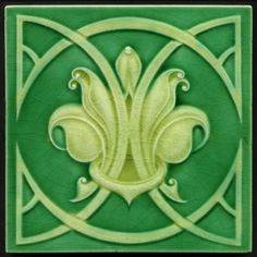 Details about TH2880 Rare Art Nouveau Majolica Tile Near Perfect Richards c.1908