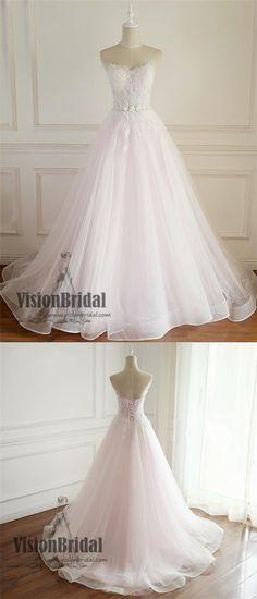 Sweetheart Pearl Pink Long Custom-Made Wedding Dresses, Beautiful Wedding Dress, VB0654 #weddingdress #weddings