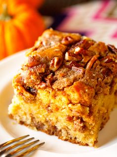 Pumpkin Coffee Cake via Deliciously Yum! Too much butter to dry ingredients for the crumb topping- I'll use 1/4 cup next time.