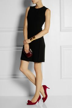 a timeless look that's great from office to dinner. Love the 3 inch velvet red pump!