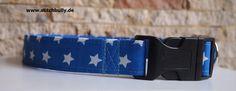 Halsband und Leine Set Star in blau von stitchbully.de für Hunde auf DaWanda.com