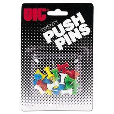 """Push Pins, Plastic, Assorted Colors, Head 1/2"""" L"""
