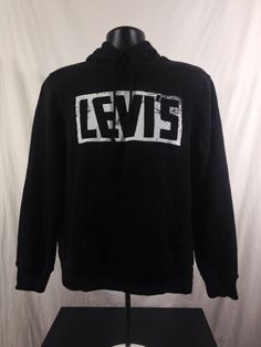Levi's Strauss Mens Black Hoodie Sweatshirt M Medium Cotton/Polyester Blend #Levis #Hoodie