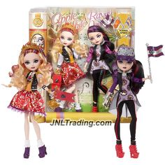Mattel Year 2014 Ever After High School Spirit Series 2 Pack 11 Inch Doll - APPLE WHITE and RAVEN QUEEN with Trumpet, Flag and Hat
