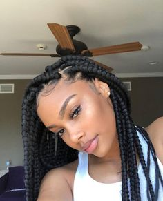 Top 60 All the Rage Looks with Long Box Braids - Hairstyles Trends African Braids Hairstyles, Girl Hairstyles, Braided Hairstyles, Protective Hairstyles, Protective Styles, Curly Hair Styles, Natural Hair Styles, Big Box Braids, Girls Braids