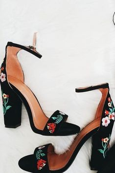 3dc911829962 Suri Embroidered Ankle Strap Heels  embroidered  floral  heels  black   flowers