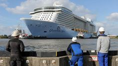Giga-cruiseschip over de Eems | NOS