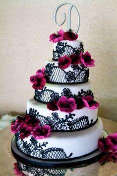 Black and White Wedding cake with pink flowers Angelica's Wedding & Event Center. Tucson, Az #laceweddingcakes