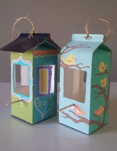 milk carton and juice carton bird feeder, crafts, how to, painting, pets animals, repurposing upcycling
