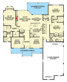 Floor 1 (This plan also has a basement with a recreation room, additional bedroom, and bathroom and a bonus space above the first floor with two additional bedrooms and a bathroom)