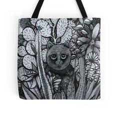 cacti cat art bag by melanie dann