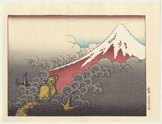 Fuji and Ascending Dragon  by Hokusai (1760 - 1849)