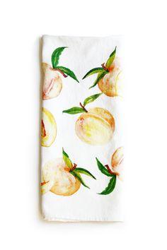 'Peaches' Dish Towel  Dish Towels, Tea Towels, Peach Decor, Peach Kitchen, Modern Farmhouse Kitchens, Watercolor Design, Elegant Homes, Kitchen Towels, Colorful Decor