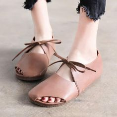 Spring Summer Shoes Flat Heel Lacing Coffee Leather Shoes