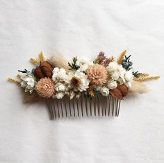 Dried Flowers Bouquet Bridesmaid Gift To Bride Wedding Color Ideas Bri – walnuttal Flower Hair Pieces, Flowers In Hair, Wedding Flowers, Fall Flowers, Dried Flower Bouquet, Dried Flowers, Flower Corsage, Hair Comb Wedding, Bridal Hair
