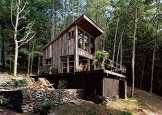 Beautifully Rustic Off Grid New York Cabin. 300 square foot off grid cabin the woods. The cabin, which has no electricity or running water, is made from reclaimed materials. It sits surrounded by a spacious deck and bluestone patio. Off Grid House, Off Grid Cabin, Off The Grid Homes, Secluded Cabin, Cabin In The Woods, Cabins And Cottages, Small Cabins, Mini Cabins, Small Cottages