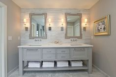 elegant modern cottage bathroom--Great focal wall idea & vanity--Master Bath