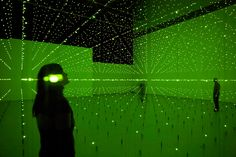 Erwin Redl Matrix II, 2000-2005, Light Installation with Green LEDs, 25,6 x 15,8 x 6,1 m