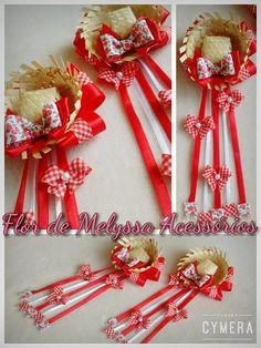 Par de bicos de pato para festa junina,  confeccionados sobre chapéu de palha de 5 cm decorados em fitas de cetim e mini-laços e rendas.    *Disponibilidade de cores: -Vermelho   -rosa claro   -laranja   -Verde   -branco para noivinha