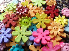 Cute Flower Buttons  Assorted shape and colour  by Meikkonen, $3.45