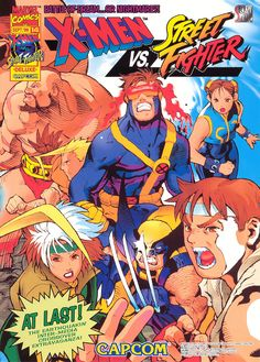 X-Men Vs. Street Fighter // Capcom, Japan (1996) #arcade #cabinet #retro #videogames #flyer