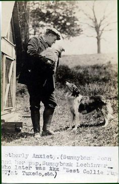 Author and Collie breeder Albert Payson Terhune with two of his Collies: Jean, and her son, Lockinvar, circa 1926