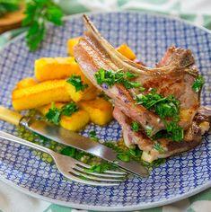 Lamb chops and rosemary polenta chips.