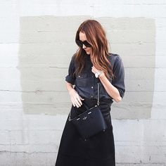 Ways to wear a leather skirt:  With a Denim Top Tucked In