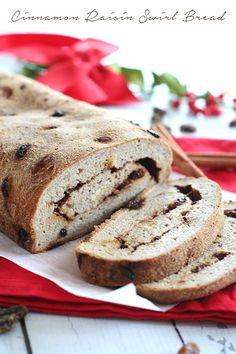 Healthy low carb Cinnamon Raisin Swirl Bread - the perfect treat for a holiday brunch!