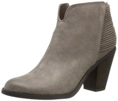 Carlos by Carlos Santana Women's Everett Boot, Taupe, 10 M US. Ankle boot in faux-suede featuring notched topline and twisted mini ropes layered at back. Stacked heel. Instep zipper.
