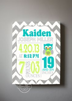 "Baby Birth Announcement Canvas Print 10"" x12"" ,Boys Nursery Canvas Art , Personalized Wall Hanging, Boys Room Decor, Owl on Etsy, $51.00"