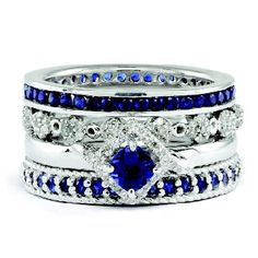 Sterling Silver Created Sapphire Diamond Four Stackable Rings